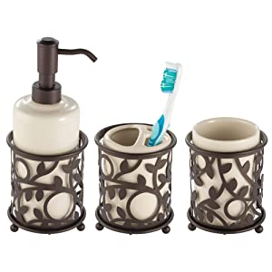 mDesign Decorative Ceramic Bathroom Vanity Countertop Accessory Set - Includes Refillable Soap Dispenser, Divided Toothbrush Stand, Tumbler Rinsing Cup - Metal Vine Accents, 3 Pieces - Vanilla/Bronze