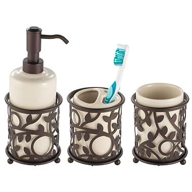 mDesign Decorative Ceramic Soap Dispenser Pump, Toothbrush Holder Stand, Tumbler for Bathroom Vanities - Set of 3, Vanilla/Bronze