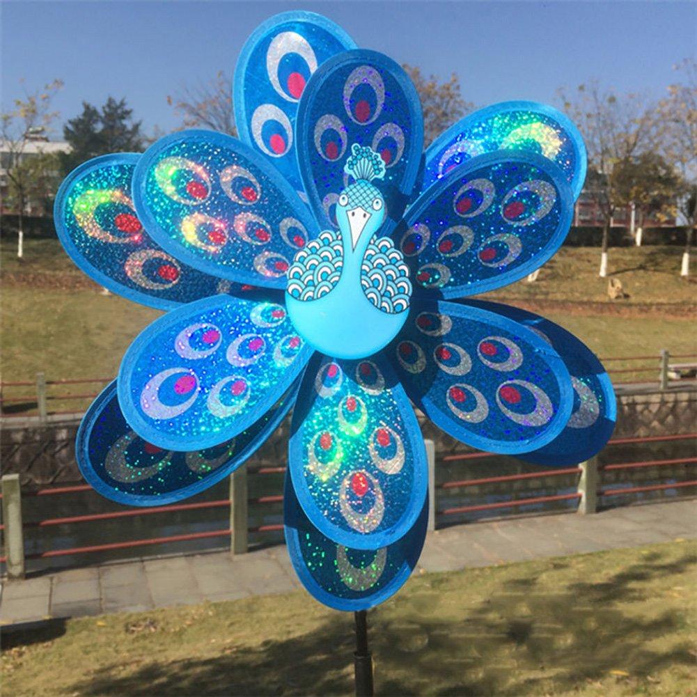 LANDUM Doppio Strato Peacock Paillettes Windmill colorato girandola a Vento Bambini Giocattolo Nuovo, Blue, Rod Length: 52CM