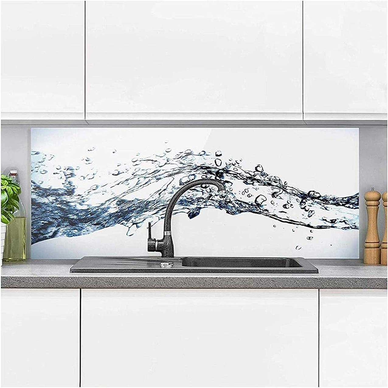 Bilderwelten Glass Splashback - Water Splash - Panoramic, Backsplash Cooker Splashback Protector Panel Decorative Splashback Panel, Dimension HxW: 40cm x 100cm