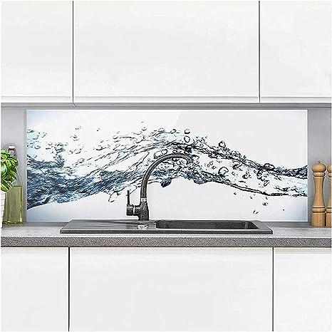 Spritzschutz Küche - Water Splash I inkl. Magnethalterung I hitzebeständig  für alle Herdarten geeignet I Küchenrückwand Glas, Spritzschutz Herd,
