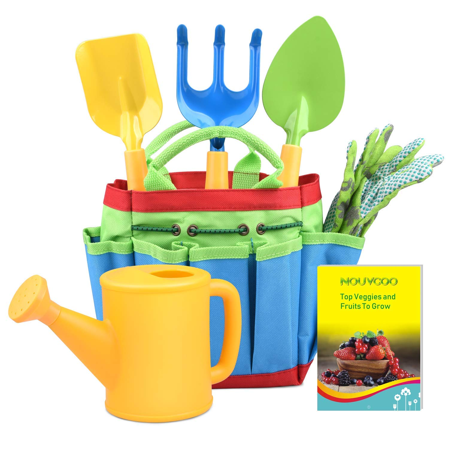 KINCREA Kids Gardening Tools, Outdoor Toys Set Gardening Set Includes Sturdy Tote Bag, Watering Can, Shovel, Rake, and…