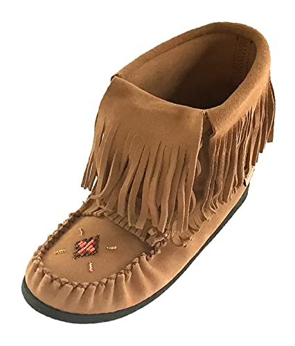 Women's Long Fold Over Fringed Inca Moccasin Shoes Lace up Ankle Boots