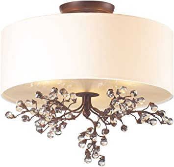 elk winterberry 3light semi flush mount with glass shade 16