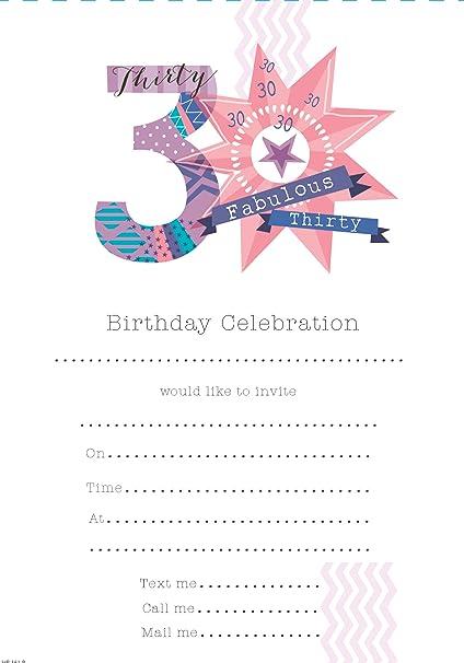 Amazon.com: 30th Fiesta de cumpleaños Invitaciones (Rosa ...