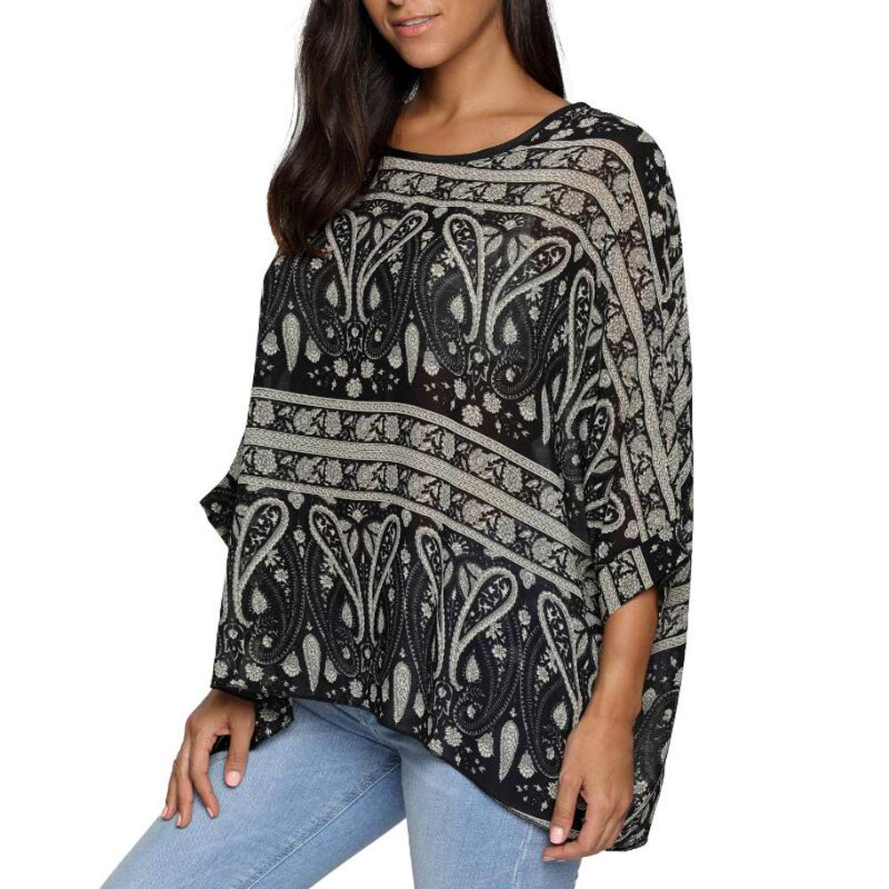 2d1adeeaad Amazon.com: Wiwish Women's Florals Batwing Sleeve Button Back Chiffon Beach Loose  Blouse Tunic Tops,One Size,277yqq: Home & Kitchen