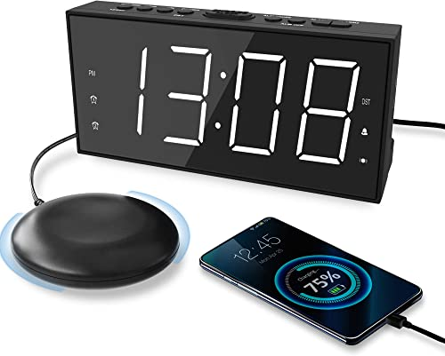 Loud Alarm Clock with Bed Shaker for Heavy Sleeper, Vibrating Alarm Clock with USB Charger for Hearing-impaired Deaf, Dual Alarm Clock, 7.5 Display with Dimmer, Snooze, 12 24H Battery Backup