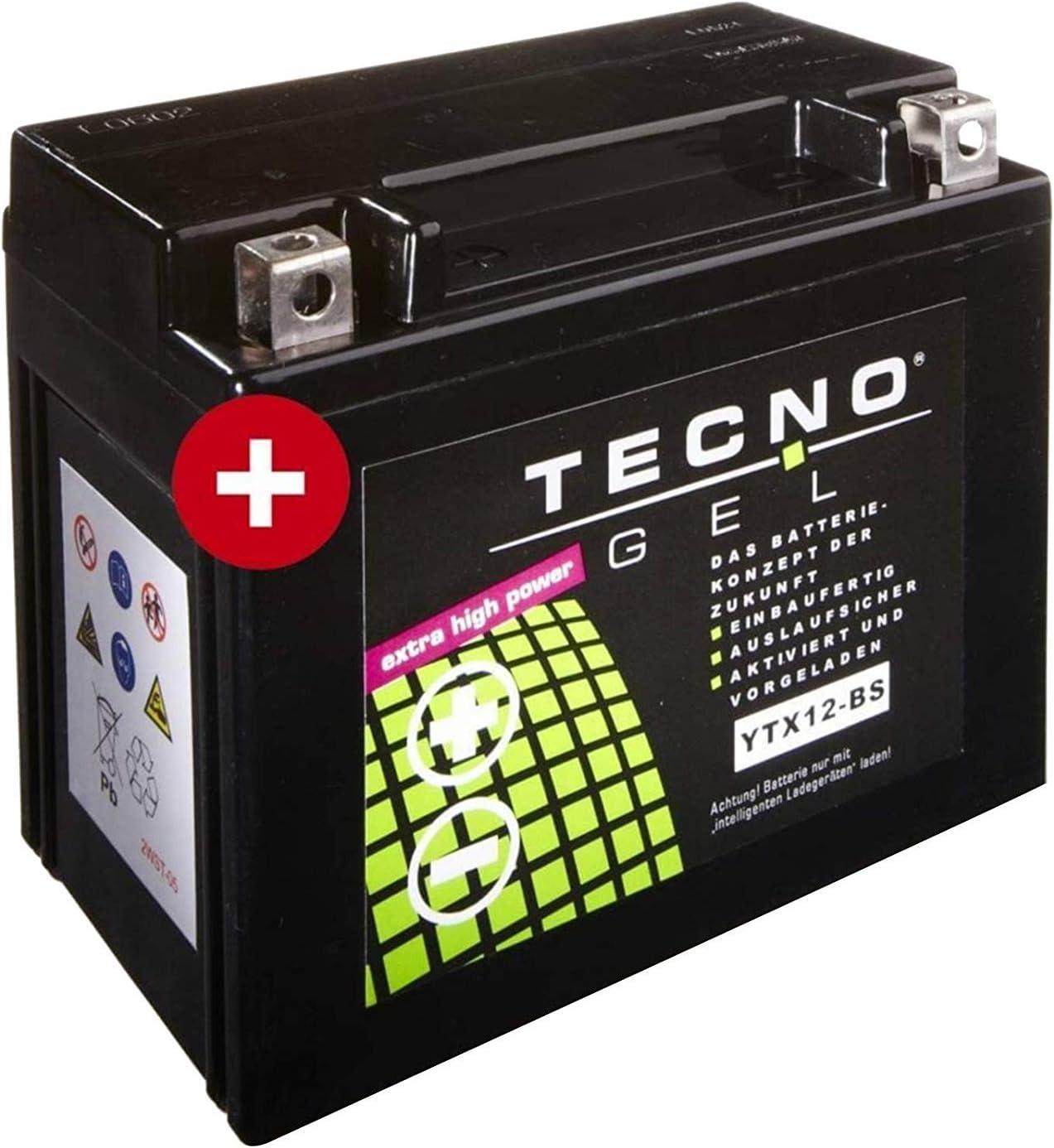 YTX12-BS TECNO GEL-Batterie f/ür GSX-R 1000 Baujahr 2001-2004