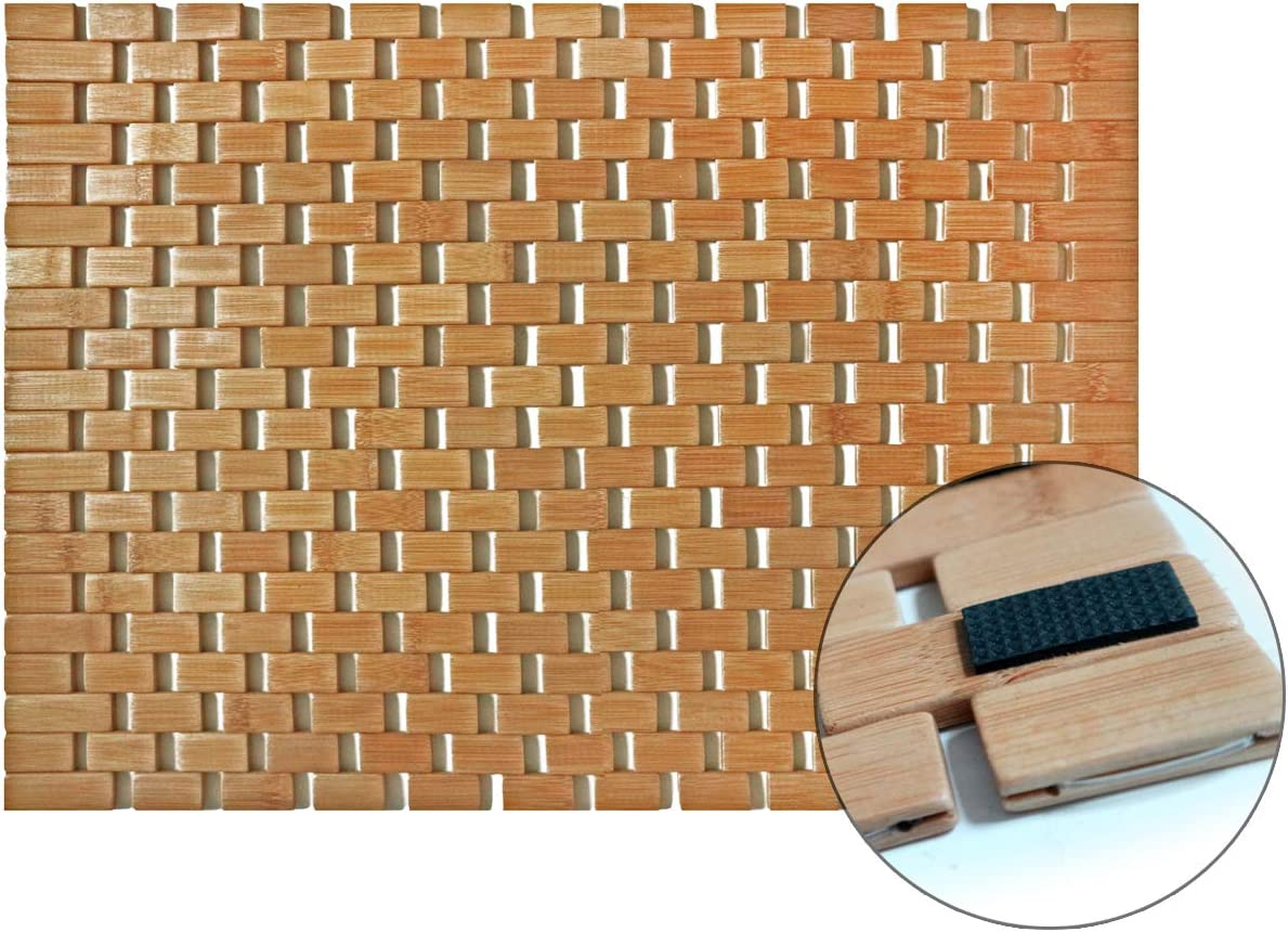 Liveinu Tappeto da Bagno Moderno in bamb/ù Antiscivolo Tappetino per Bagno e Sauna Tappetini Ecologici e Decorativi 40x60cm