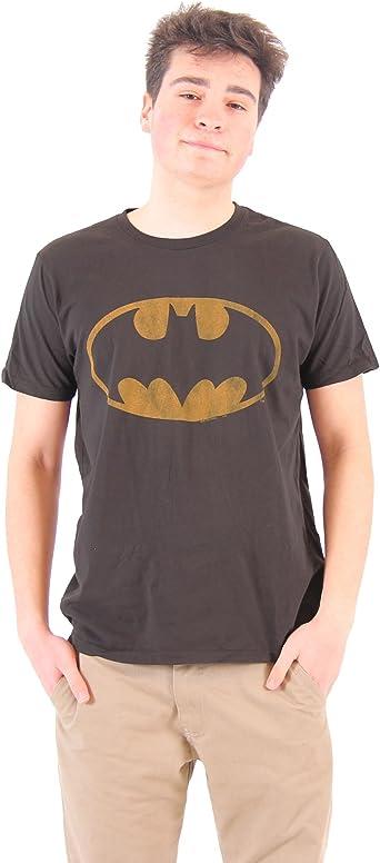 Camiseta de Batman con logo desgastado Schwarz Erwachsene: Amazon.es: Ropa y accesorios