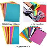 Lakeer Combo Pack A4 Neon Color Paper Pack of 50 Sheets + A4 Eva Foam Sheets 2 mm Pack of 10 Sheets Scrapbooking, Craft Projects, Decorations, Multicolour