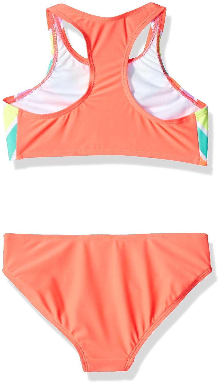 Freestyle Big Girls High Neck Zazzle Stripe Two Piece Swimsuit