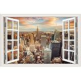 "3D Wall Sticker Window Wall Decals New York City Wall Art Cityscape Stickers Home Decor Mural Art Removable Vinyl Wallpaper 24""X36"""