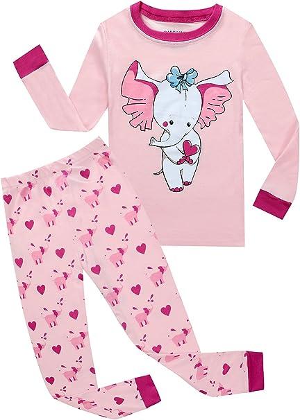 New Kids Pink Elephant Pajamas Sets Sleepwear Long T Shirt Nightgown Clothes