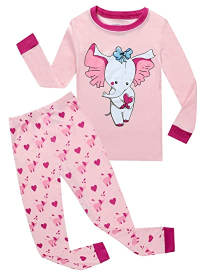 fb71aeb60ae BABEE WELL Baby Girls Elephant Pajamas 100% Cotton Childrens Clothes Sets  Sleepwears (Pink