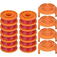 TOCYORIC 12 stuks grastrimmers draad voor alle 20 V Worx grastrimmers en 4 stuks trimmer spoel cap, duurzame…