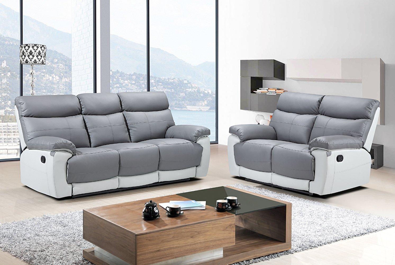 The Sofa & Bed Factory Juego de sofá reclinable de Piel Reva ...