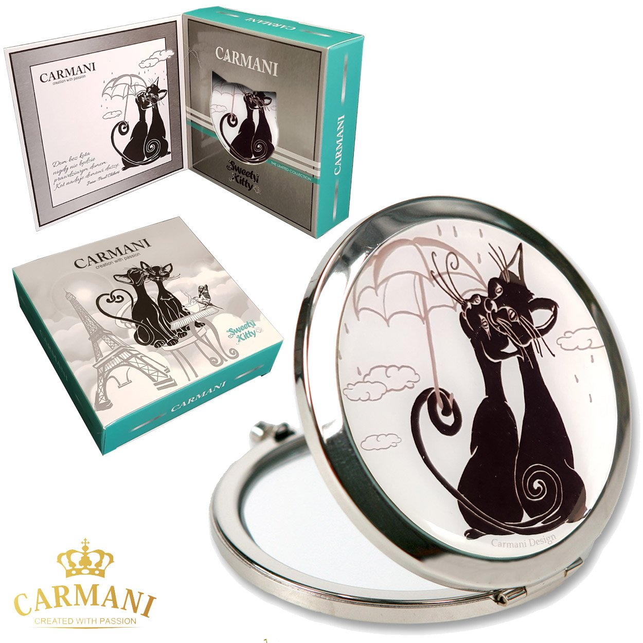 CARMANI - CHAT Conception Mesdames Pocket Flip Voyage Maquillage Miroir Métal Miroir Poche Compact