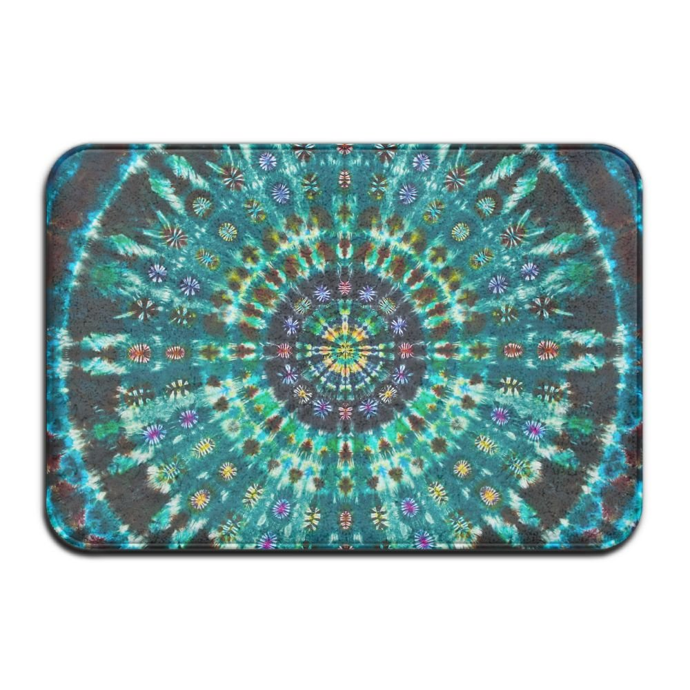 Spiral Tie Dye Mandala Green Bath Mat - 1 Piece Memory Foam Shower Spa Rug 18x36 Bathroom Kitchen Floor Carpet Home Decor With Non Slip Backing - 3 Sizes by BesArts (Image #1)