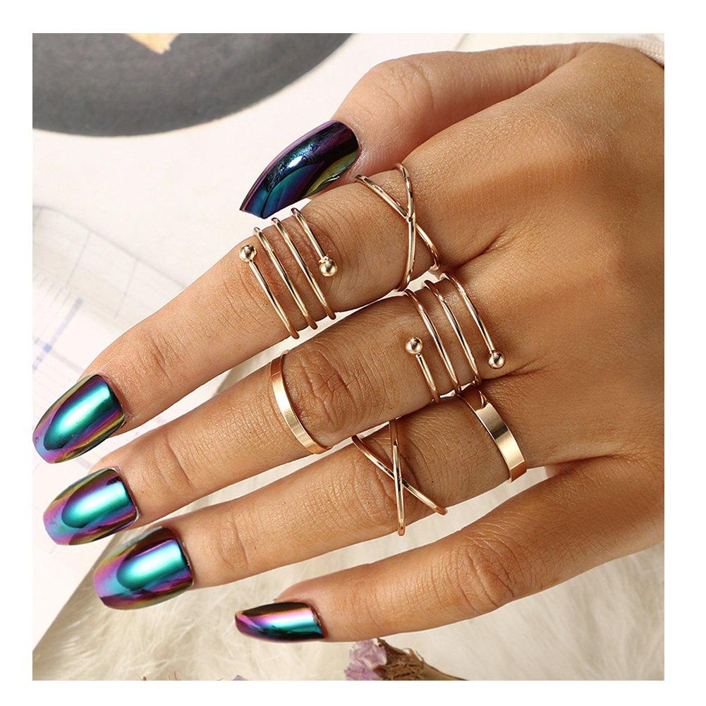 LOVFASH Knuckle Ring Set Vintage Carving Flower Turquoise Arrow Moon Boho Stackable Rings for Women Girls JL269-1