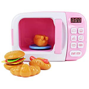 Boley Microwave Kitchen Play Set for Kids with Pretend Fake Food - Toy Great for Toddlers 3 and Older - Pink