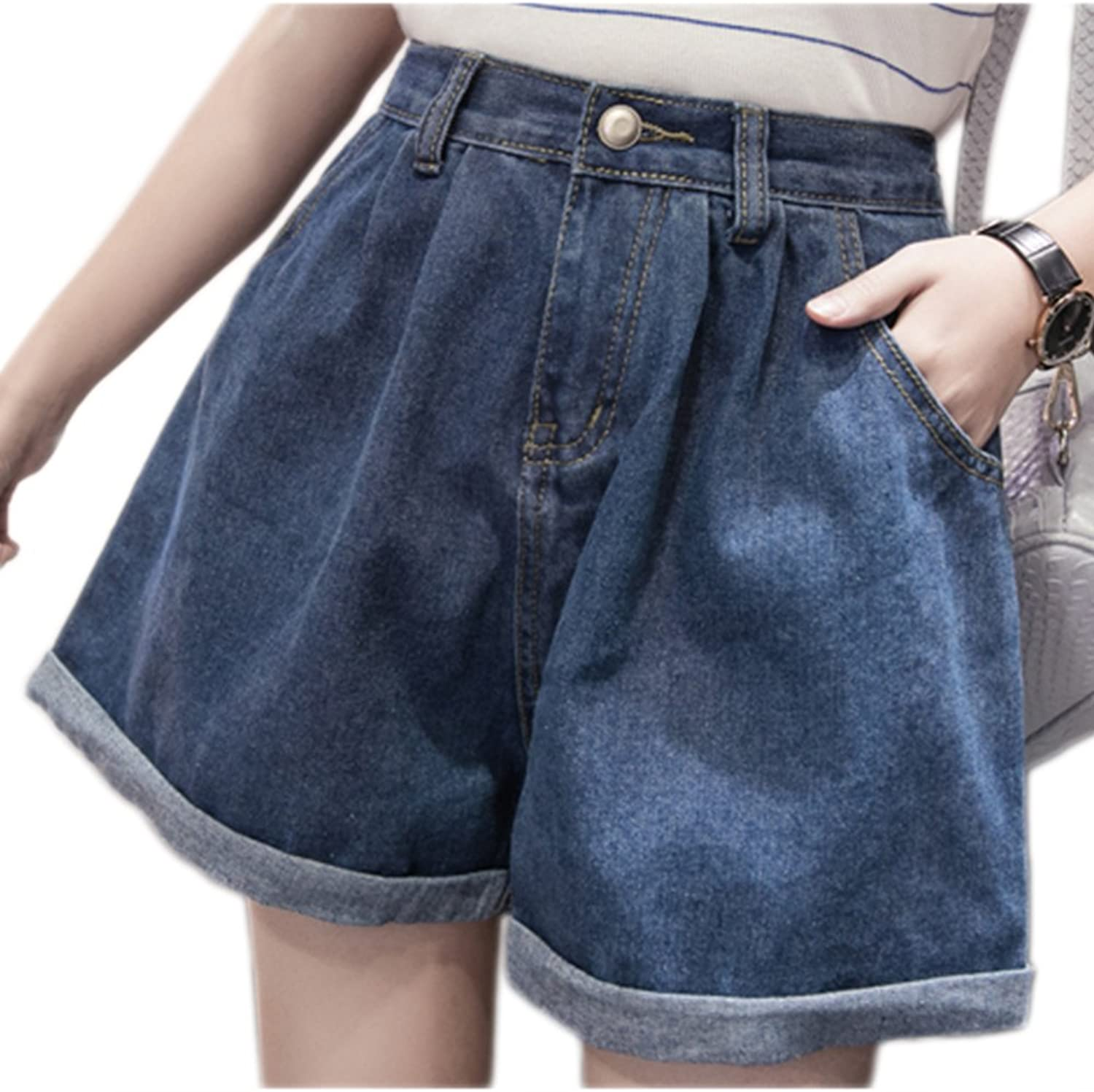 Zojuyozio Le Donne Estate Casual Alta Vita Ampia Gamba Denim Jeans Taglia Hot Shorts