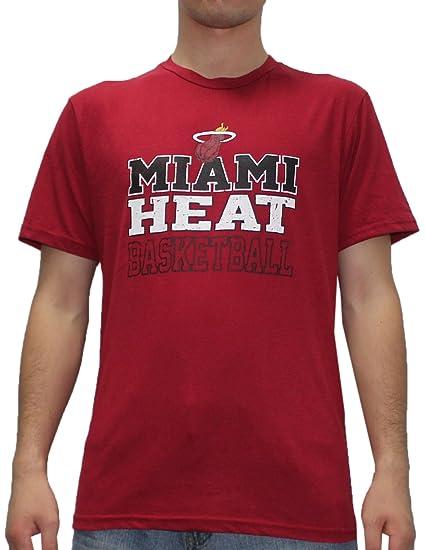 NBA MIAMI HEAT Mens atlético manga corta camiseta (aspecto Vintage)
