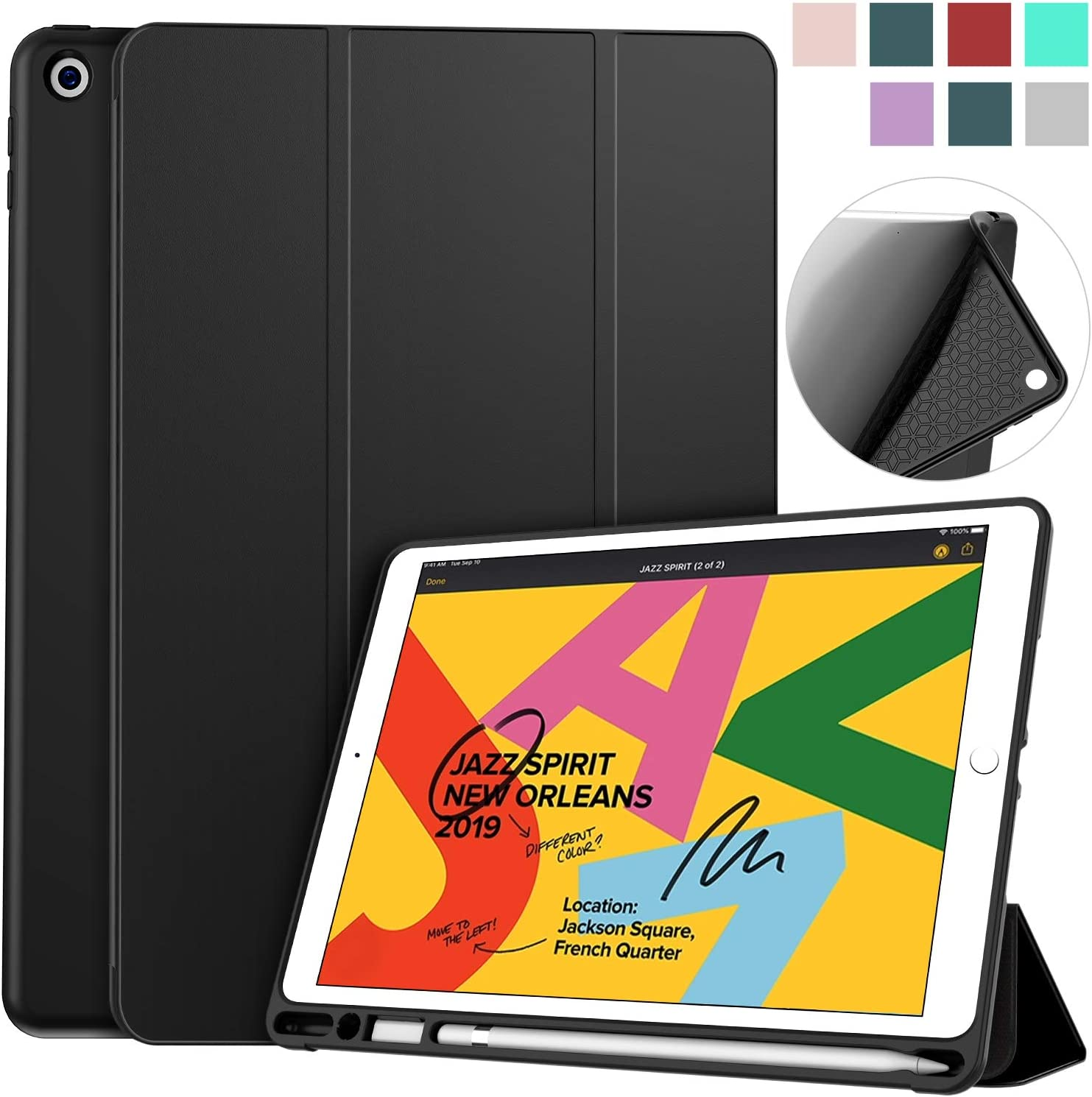 Amazon Com Soke Ipad 7th Generation Case Compatible For Ipad 8th Generation 2020 Release New Ipad Case 10 2 Case With Pencil Holder Lightweight Smart Cover With Soft Tpu Back Auto Sleep Wake For Ipad 7th 8th Gen Computers Accessories