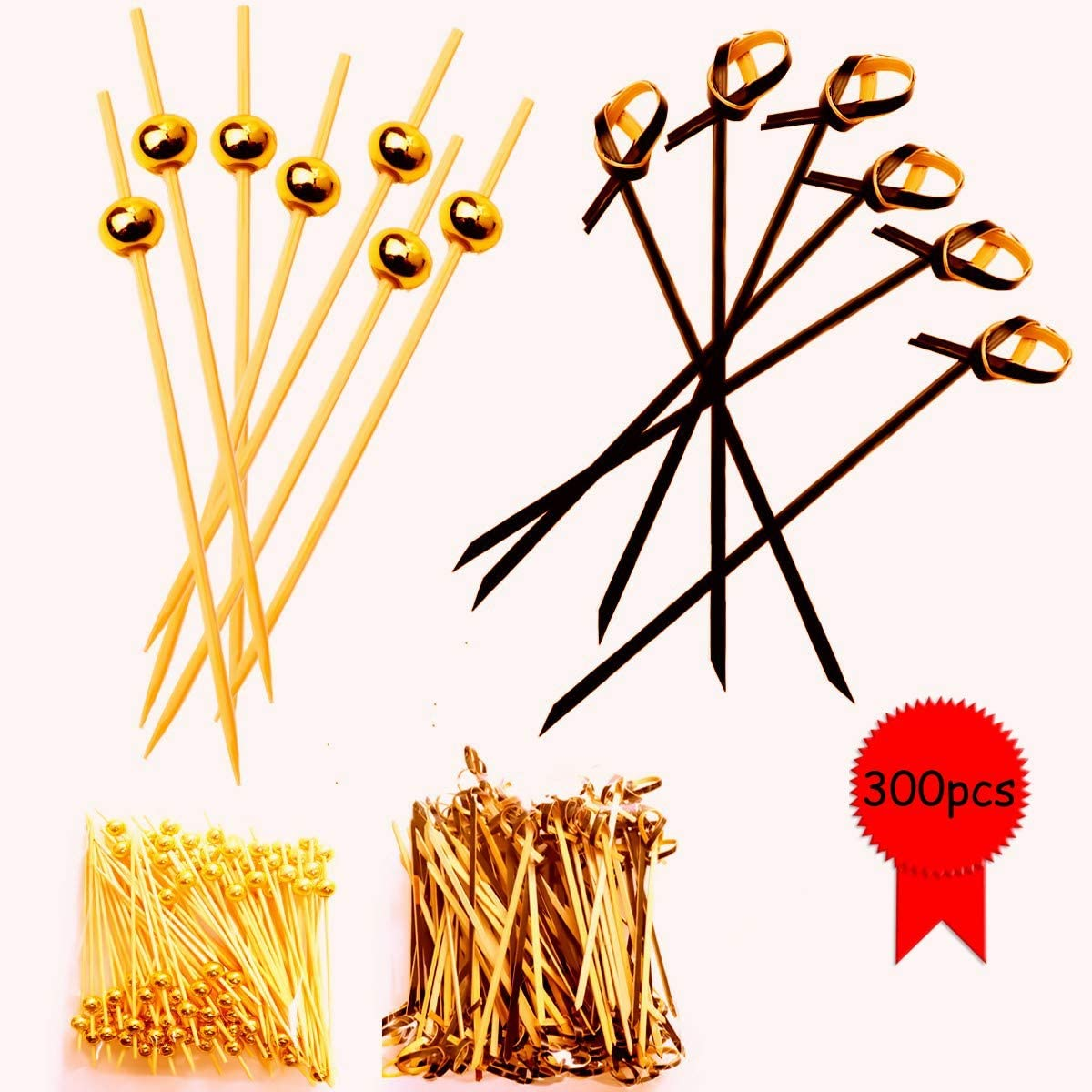 MotBach 300 pieces Handmade Bamboo Toothpicks, 200pcs Gold Pearl(4.8 Inch) and 4.1Inch Black Looped Knot, 100 in Count for Bar,Party,Wedding