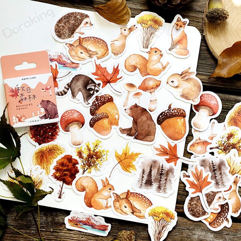 Small Scrapbooks Laptop Stickers, Doraking Boxed Cute Autumn Style Stickers for Laptop, Scrapbooking, Suitcase (Autumn Forest, 46PCS/Box)