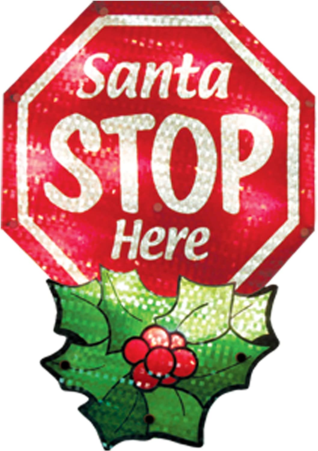 Impact Innovations Christmas Shimmer Lighted Window Decoration, Santa Stop Here