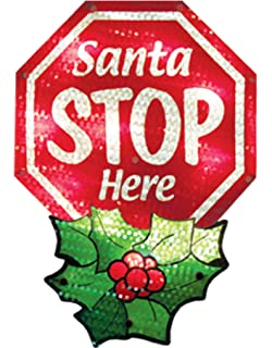impact innovations christmas shimmer lighted window decoration santa stop here