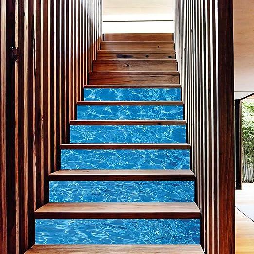 OYBB Pegatinas de Escalera Murales Escalera Moda Pasos creativos Pegatinas de Pared Decorativos 18 * 100 cm * 6 unids Mar: Amazon.es: Hogar