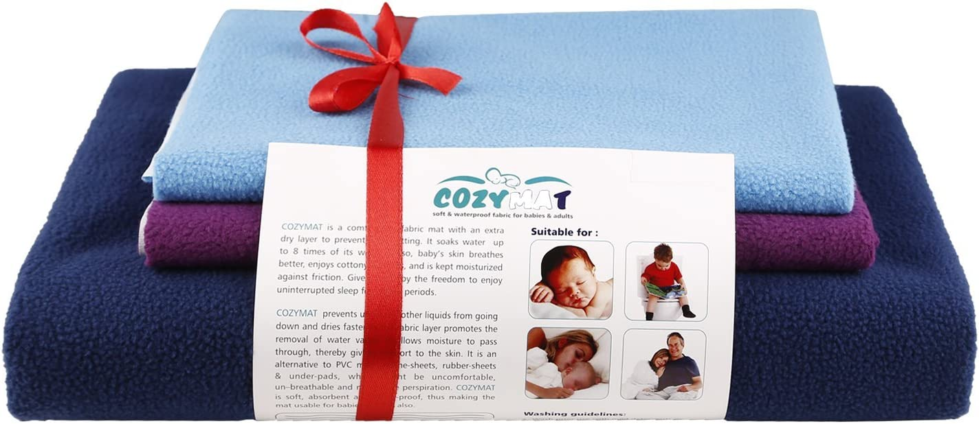 Sky Blue Cozymat Dry Sheet Waterproof Breathable Bed Protector Medium Size: 70cm X 100cm