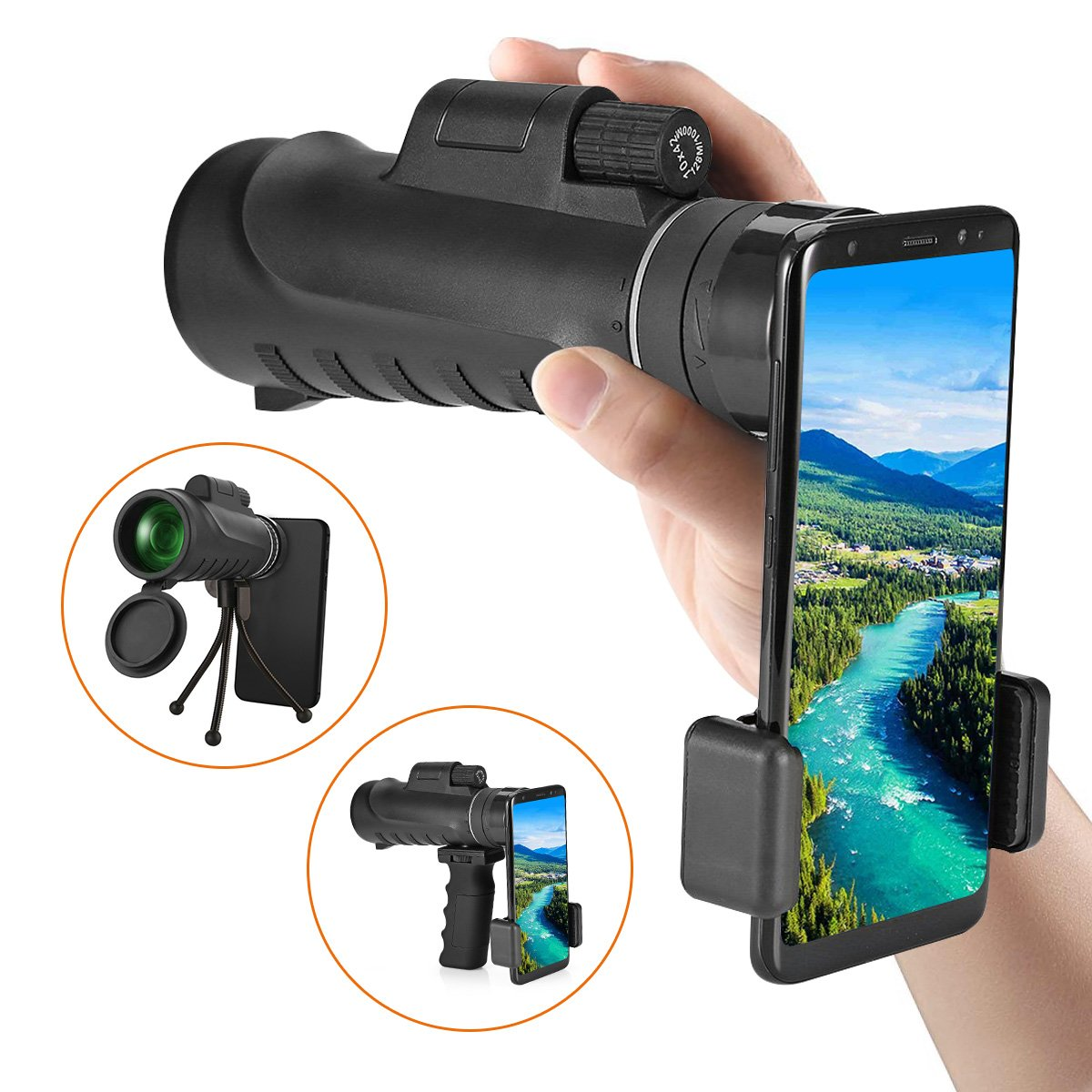 Hizek Monocular Telescope, 10 x 42 High Power Prism Monocular with Smartphone Holder and Handheld Stand and Tripod for Bird Watching Fishing Hunting Camping Travelling