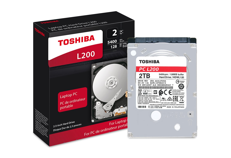 Toshiba HDWL120XZSTA L200 2TB Laptop PC Internal Hard Drive 5400 RPM SATA 6Gb/s 128 MB Cache 2.5'' 9.5mm Height - 2000 Internal Bare/OEM Drive