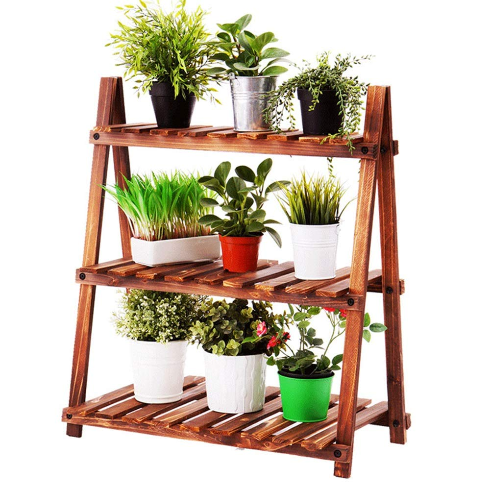 LJHA huajia Flower Stand, Carbonized Wood Living Room Balcony Trapezoidal Three-Tier Flower Stand (Size : Carbon Wood Color) by GYH Flower stand
