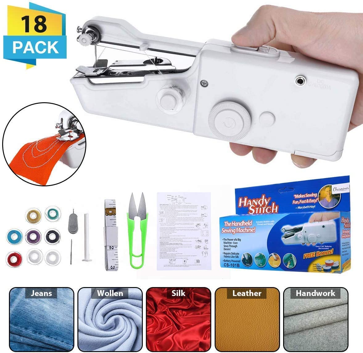 CHARMINER Hand Sewing Machine, Mini Hand-held Portable Sewing Machine, Quick Repairing Suitable for Denim Curtains Leather DIY 18 PCS(White)