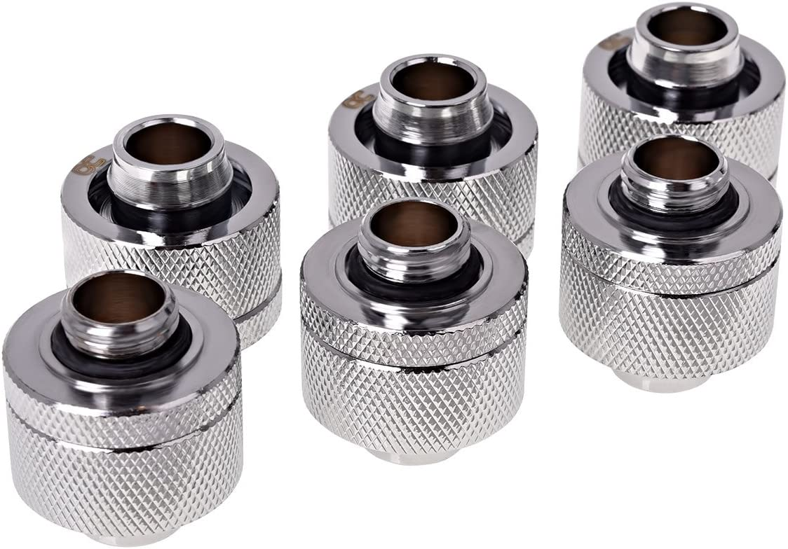 Chrome Sixpack Water Cooling Fittings Alphacool 17390 HF 19//13 Compression Fitting G1//4
