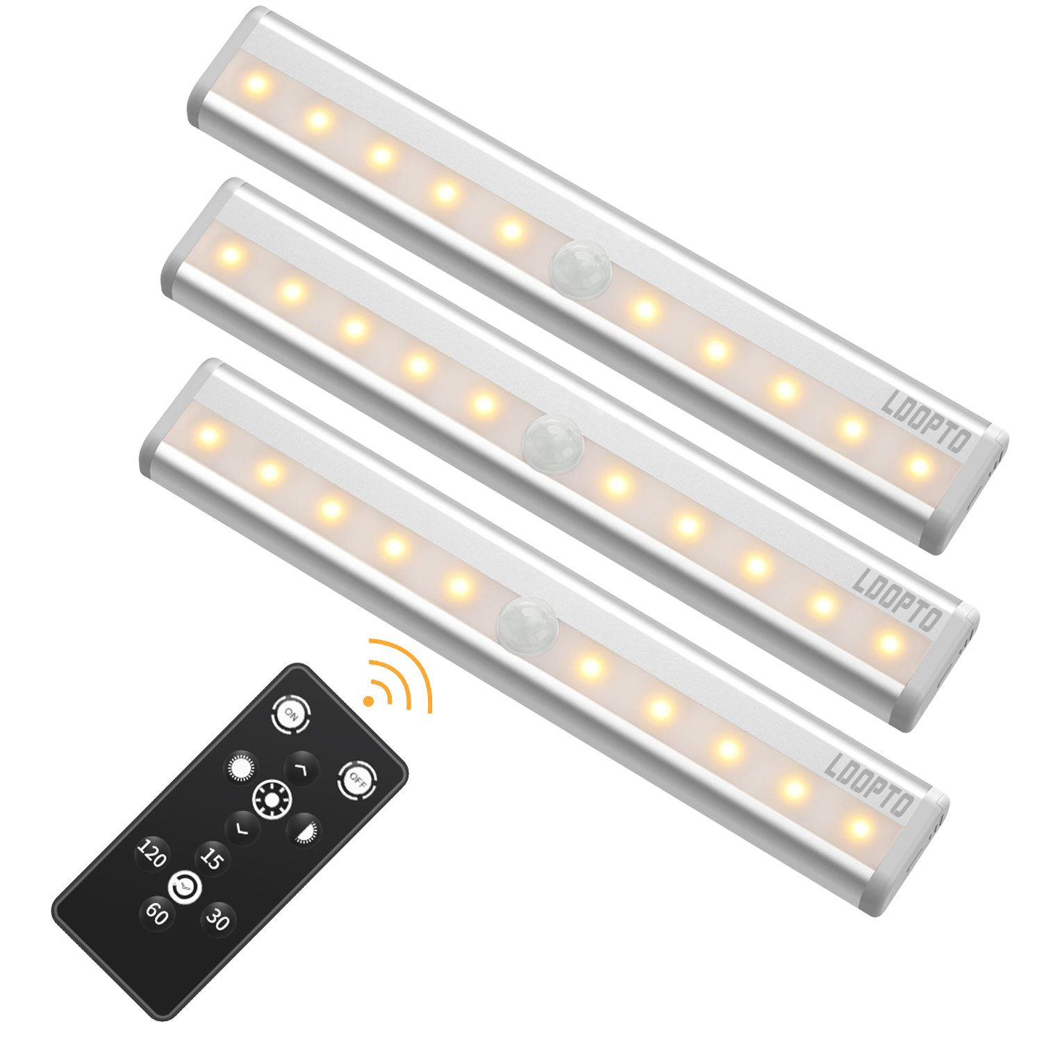 Wireless Remote Control Led Under Cabinet Lighting [3 Packs], LDOPTO 10 LED Cupboard Light Bar, Closet Lights with Stick-on Magnetic Strip/Brightness Adjustment/Time Control, Silver