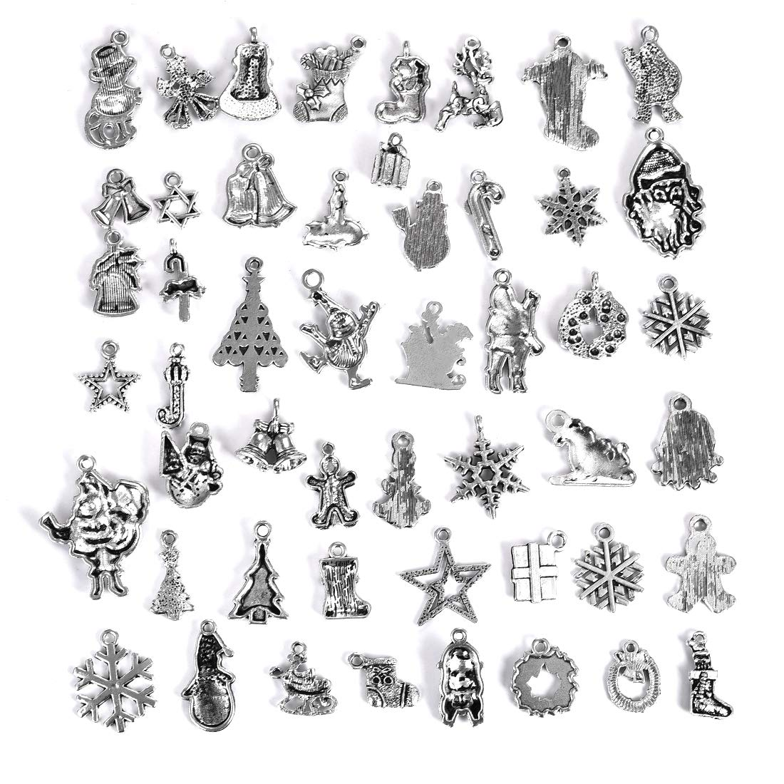 DROLE 60Pcs Halloween Charms Pendant Beads for Jewelry Making Findings Antique Silver Skull Ghost Pumpkin Charm Pendant for DIY Crafting