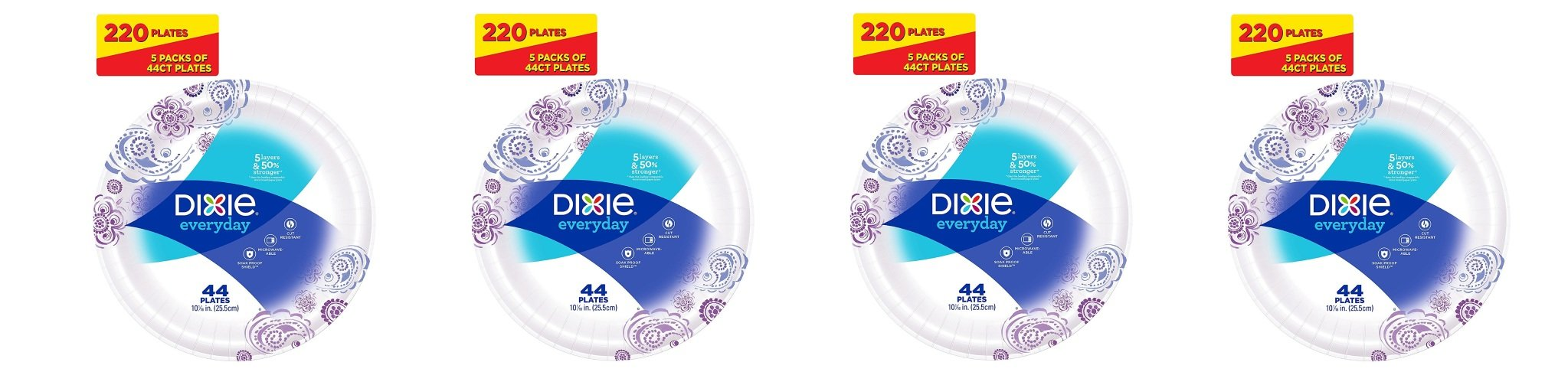 Dixie Everyday Paper Plates, 10 1/16 Inches USchWg, 4Pack of 220 Plates by Dixie