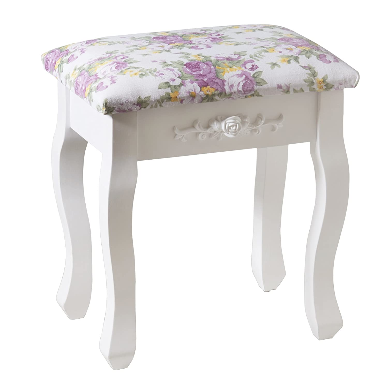 UEnjoy White Dressing Table Stool Piano Chair Vintage Floral Decor