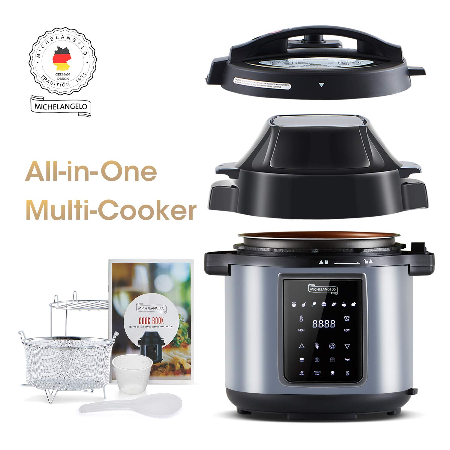 MICHELANGELO 6.5 QT Pressure Cooker Air Fryer Combo, All-in-1 Pressure Fryer with Two Detachable Lids, Steamer Basket, Roast Rack And Free Recipe Book - Metallic Black