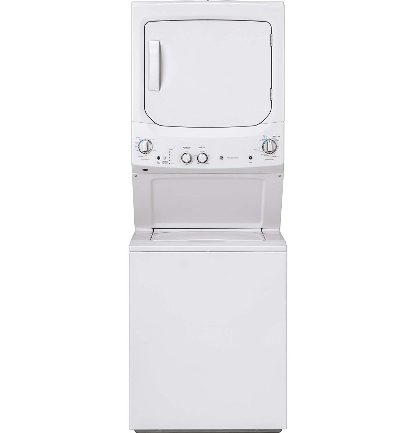 GE GUD27ESSMWW Unitized Spacemaker 3.8 Washer with Stainless Steel Basket and 5.9 Cu. Ft. Capacity Electric Dryer, White
