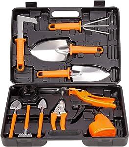 TOORGGOO Garden Tool Sets, 12 Piece Stainless Steel Garden Hand Tool Kit, Outdoor Gardening Tools, Heavy Duty Gardening Work Set with Ergonomic Handle, Gardening Gifts for Women Men Gardener.