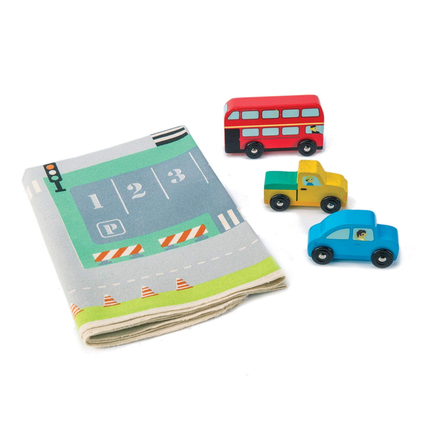 Red London Bus. Baby Nursery /& Playroom Crafts Pick Up Truck Printed Road Canvas Playmat Drive-Through on Soft Town Playmat