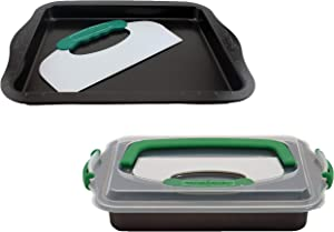 BergHOFF Perfect Slice 4 Piece Bakeware Set, Cookie Sheet, Covered Bake Pan and Slicer Tool