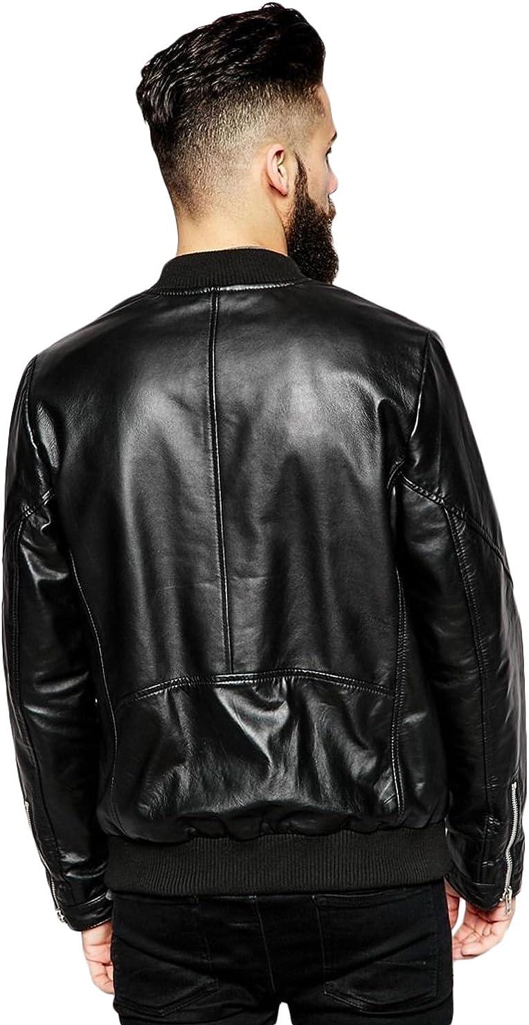 New Men Motorcycle Lambskin Leather Jacket Coat Size XS S M L XL T1501