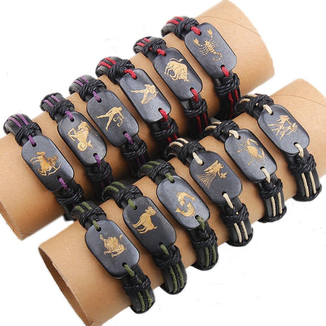 Topgee 12 Pcs Twelve Constellations Leather Woven Bracelets Bangle Charm Jewelry (C)